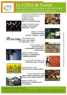 Affiche activités culturelles février mai 2020